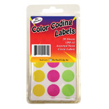 Color Coding Labels, 20sheets (180 ct), Assorted Neon Circle Labels