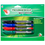 Dry Erase Markers, Fine Tip, 4 Assorted Colors