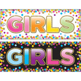 """Laminated Double-Sided Hall Passes, 9"""" x 3.5"""", Confetti Girls Pass"""