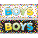 """Laminated Double-Sided Hall Passes, 9"""" x 3.5"""", Confetti Boys Pass"""