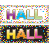 """Laminated Double-Sided Hall Passes 9"""" x 3.5"""", Confetti Hall Pass"""