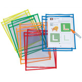 """Dry Erase Pockets, 5 Assorted Bright Colors, 10"""" x 13-1/2"""", 10 Pockets"""