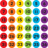 """Spot On¨ Numbers 1Ð36 Carpet Markers, 4"""""""