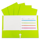 2-Pocket Laminated Paper Portfolios with 3-Hole Punch, Green, Box of 25