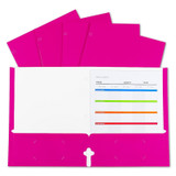 2-Pocket Laminated Paper Portfolios with 3-Hole Punch, Pink, Box of 25