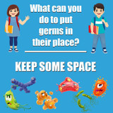 """Keep Some Space Low Tac Wall Stickers, 11"""", Pack of 5"""