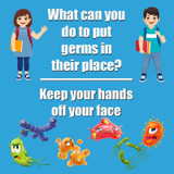 """Keep Germs in Their Place Low Tac Wall Stickers, 11"""", Pack of 5"""