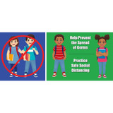 """Kids Social Distance Low Tac Wall Stickers, 14"""" x 6"""", Pack of 5"""