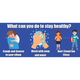 """How To Stay Healthy Low Tac Wall Stickers, 14"""" x 6"""", Pack of 5"""