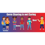 """Germ Sharing is Not Caring Low Tac Wall Stickers, 14"""" x 6"""", Pack of 5"""