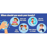 """When to Wash Your Hands Anti-Slip Floor Stickers, 14"""" x 6"""", Pack of 5"""