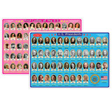 """Smart Poly» Learning Mats, 12"""" x 17"""", Double-Sided, U.S. Presidents & First Ladies, Pack of 10"""