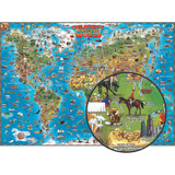 """Children's Map Of The World, 54"""" x 38"""""""