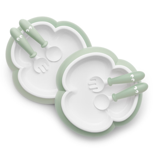 Plate, Spoon & Fork (2 sets) [Green]