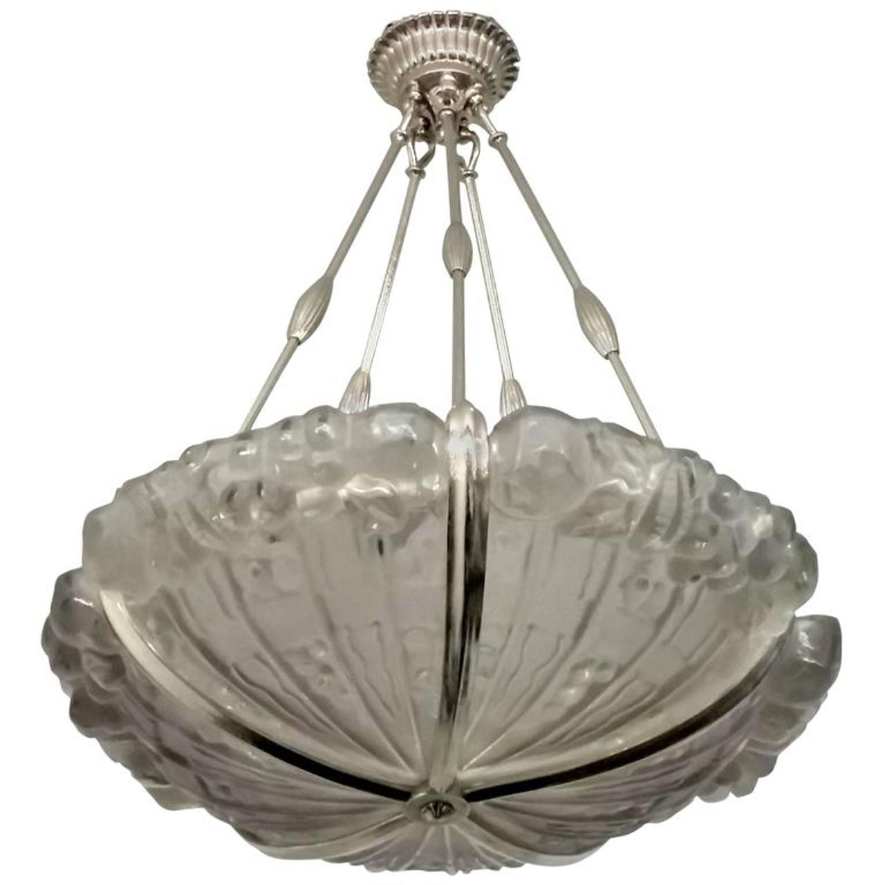 French Art Deco Pendant Chandelier By Genet Et Michon Lu161925884443 Lampem