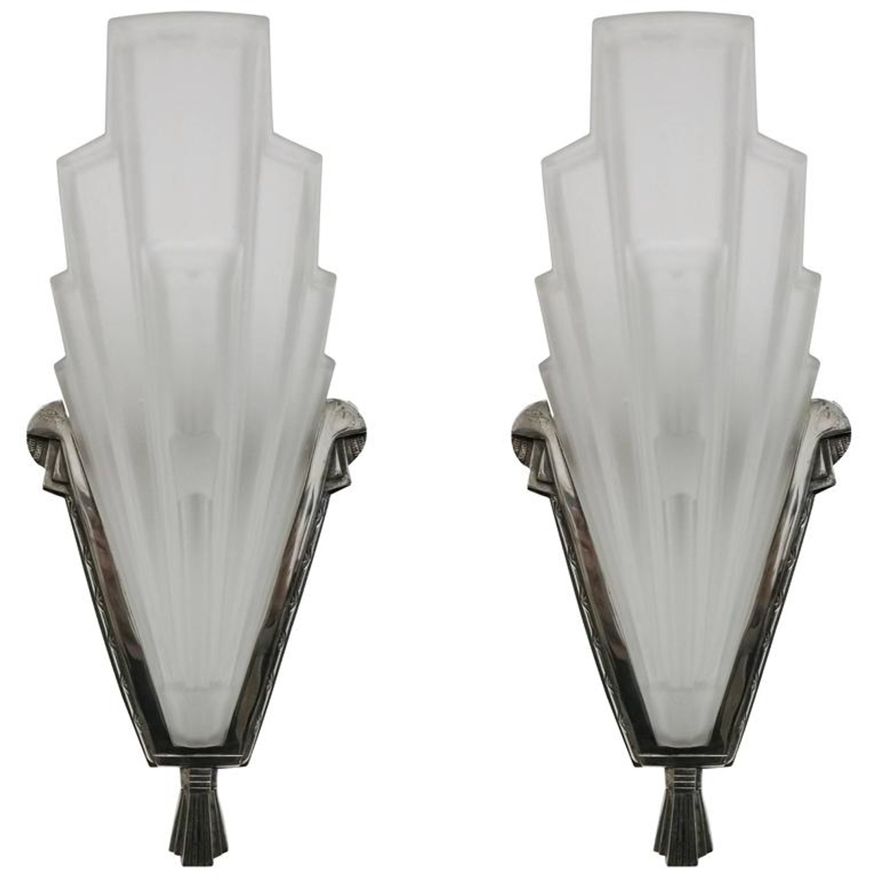 Pair Of French Art Deco Wall Sconces By Hanots Lampem