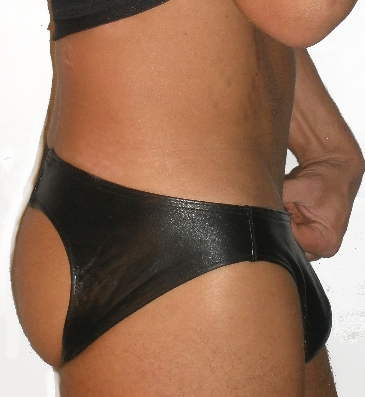open back leather brief with elastic strip