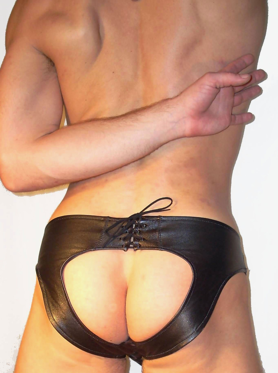 open back lace back leather brief