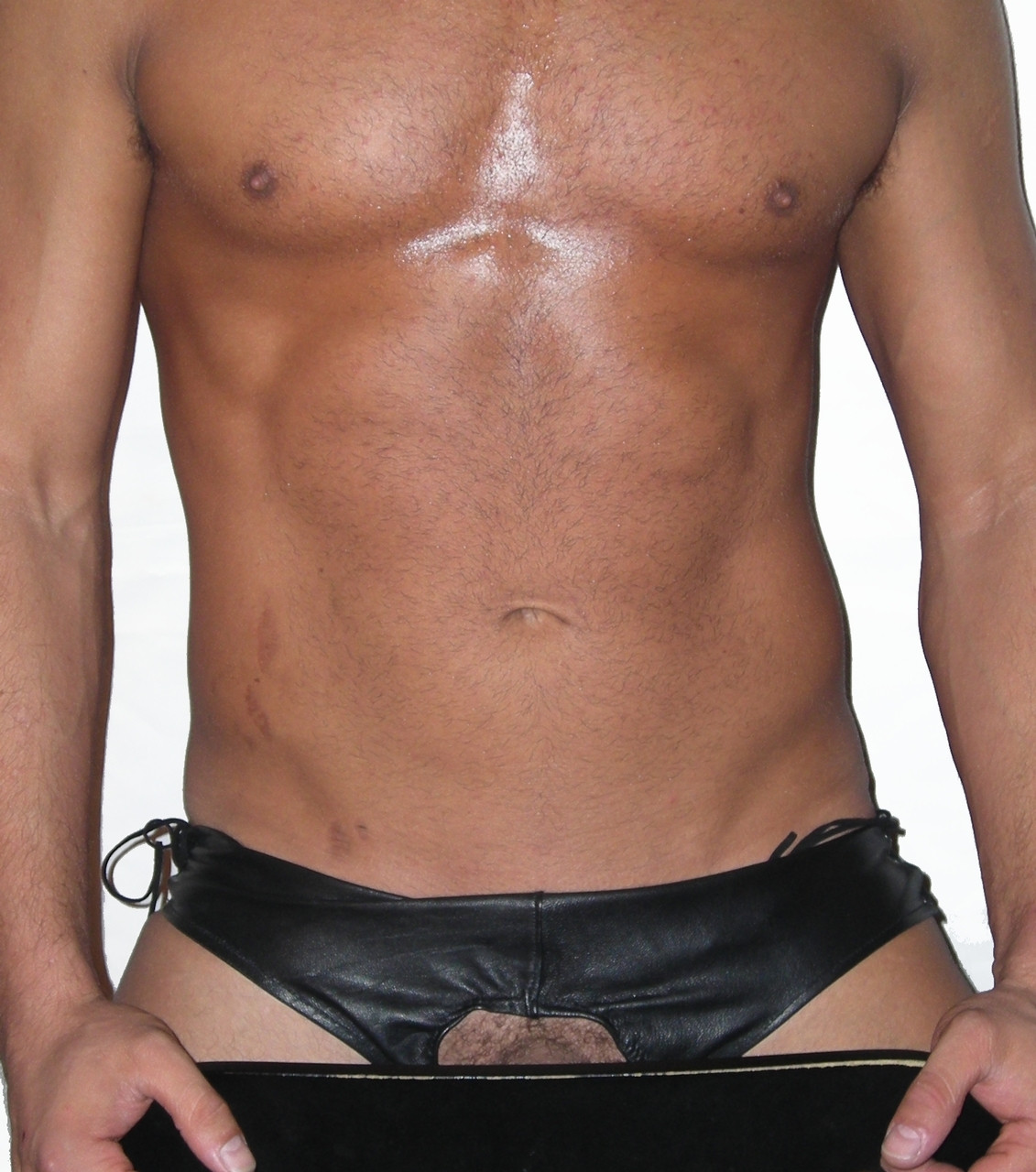 open front leather brief