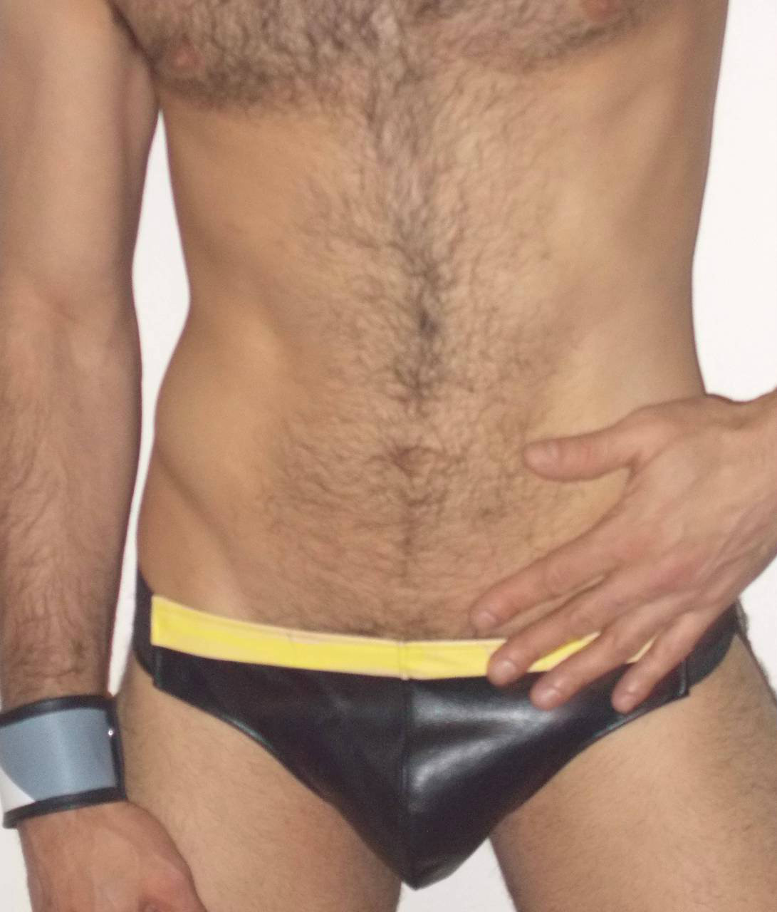 yellow stripe leather jock