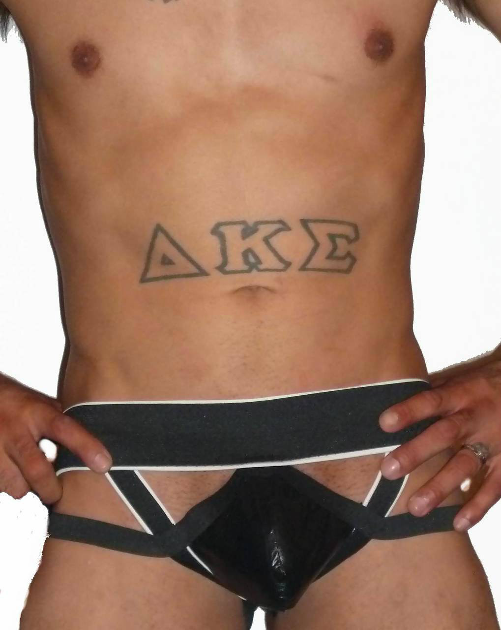 strip and straps leather pouch jockstrap