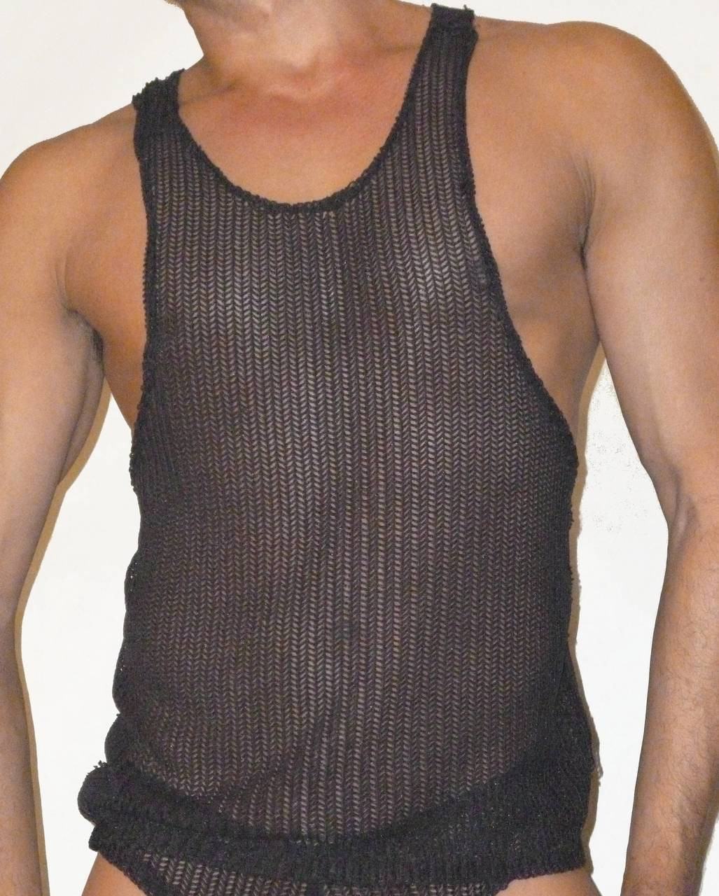 black knit net tank
