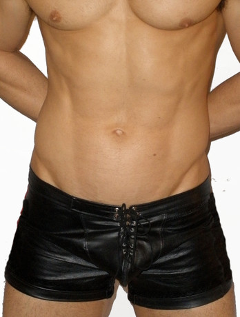 lace front leather shorts