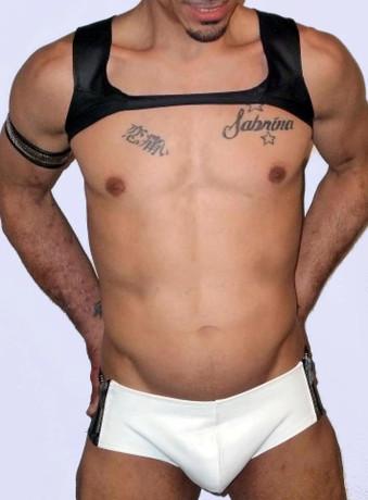 zip sides leather brief