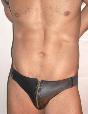 zipper leather jockstrap