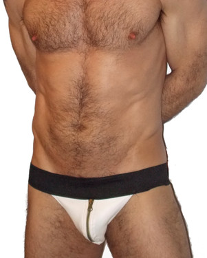 Zipper Leather Pouch Jockstrap