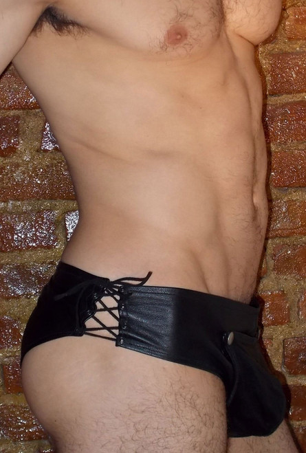 Codpiece Leather Brief with Lace Up Sides