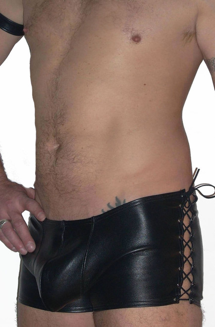 lace up sides leather shorts