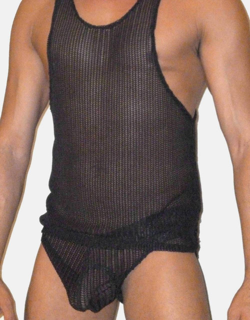 black knit net brief