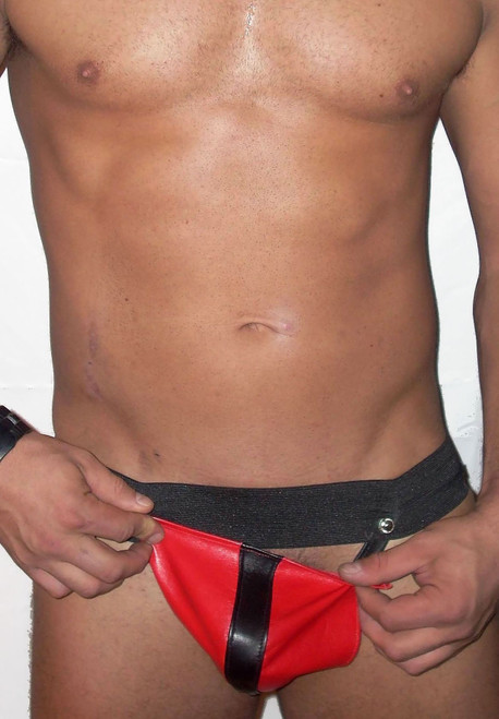 Striped Codpiece Pouch Leather Jockstrap