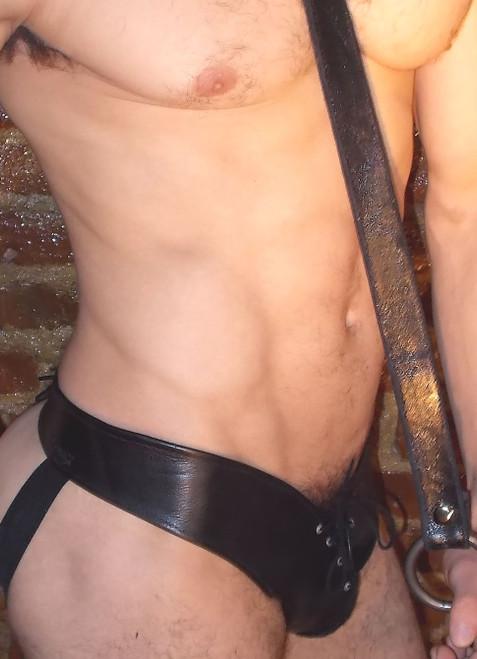 Split Lace Up Leather Jockstrap