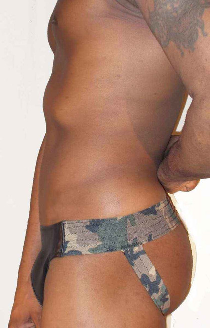 Jocks By RJ Camouflage Elastic Leather Jockstrap