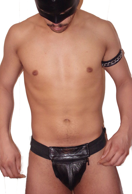 leather zipper pouch jockstrap
