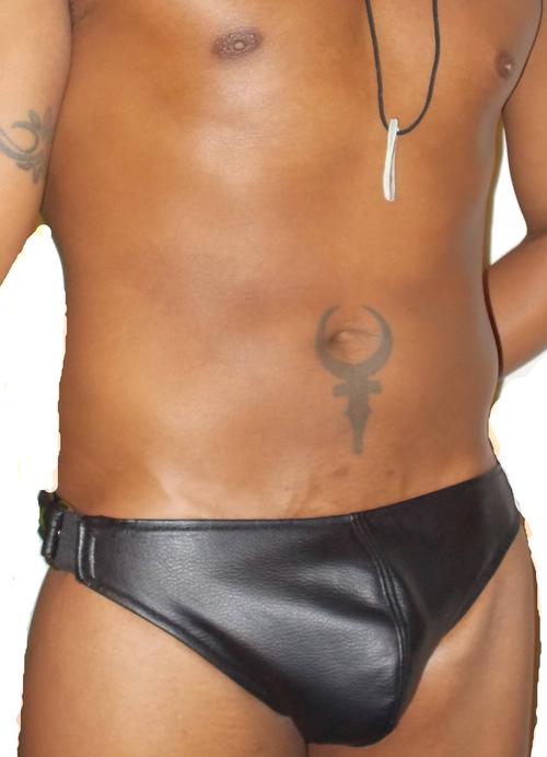 Adjustable Snap Sides Leather Brief