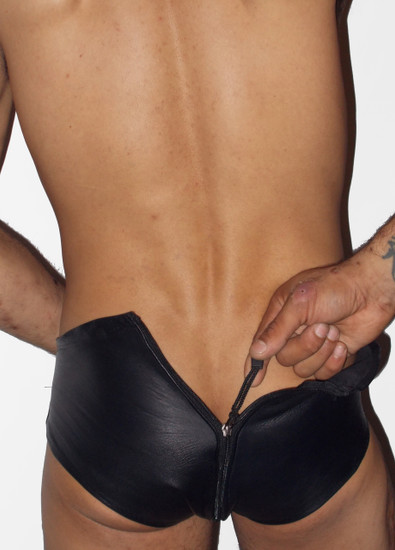 Zip Back Leather Brief