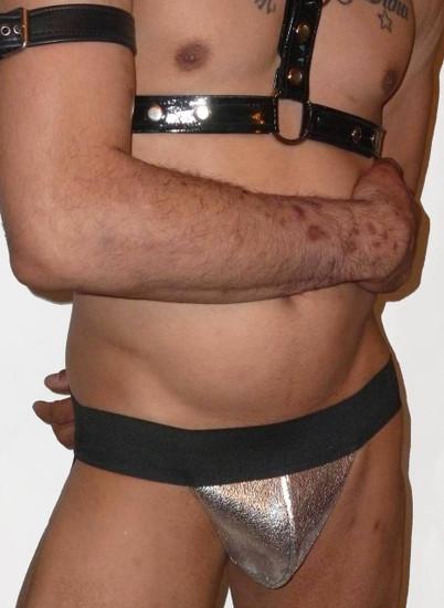 Metalic Silver Leather Pouch Jockstrap