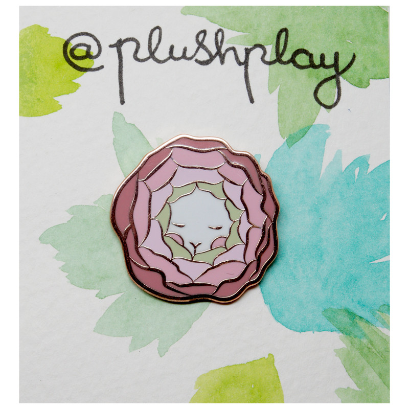 Flower Bun Enamel Pin