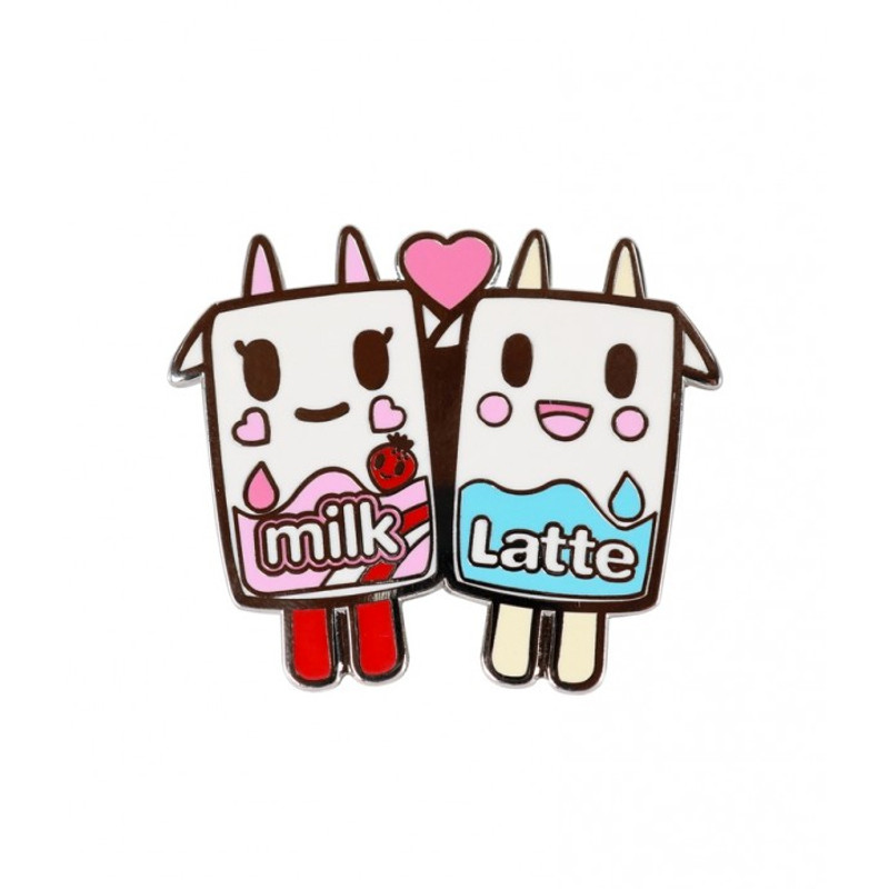 Strawberry Milk & Latte Moofia Enamel Pin
