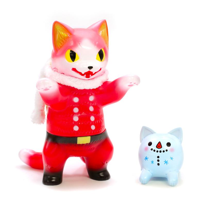 Negora Santa and Cat Daruma Snowman by Konatsu