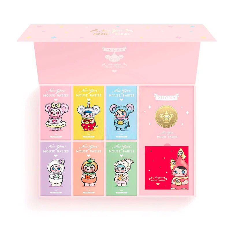 Pucky New Years Mouse Babies Box Set With Coin and Red Envelopes