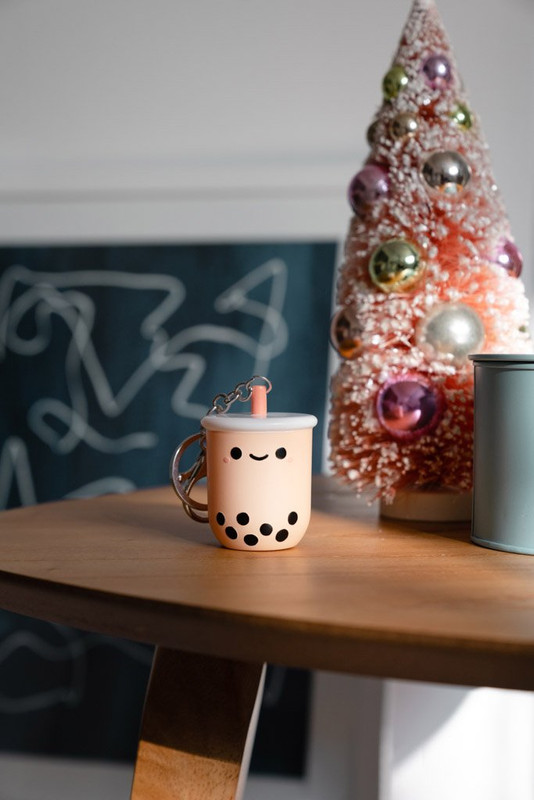 Pearl Boba Tea Light-Up Keychain