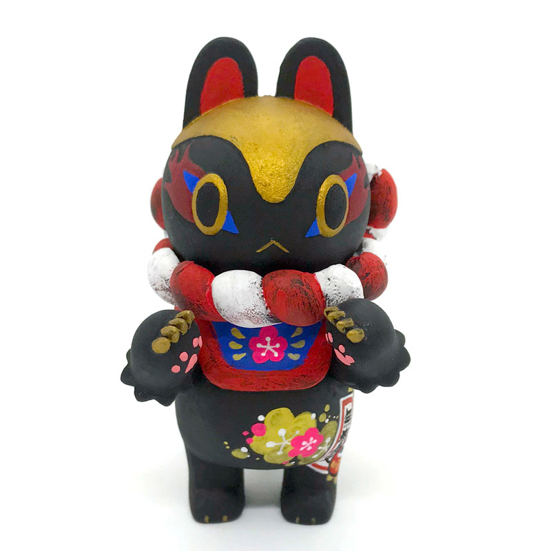 Inu-Harigon with Basket Black Hand Painted Disease Prevention by Teresa Chiba