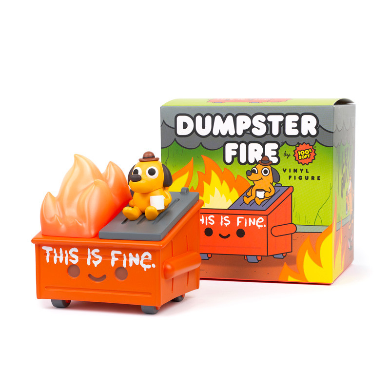 """""""This is Fine"""" Dumpster Fire Vinyl by KC Green X 100% Soft Figure PRE-ORDER SHIPS FEB 2022"""