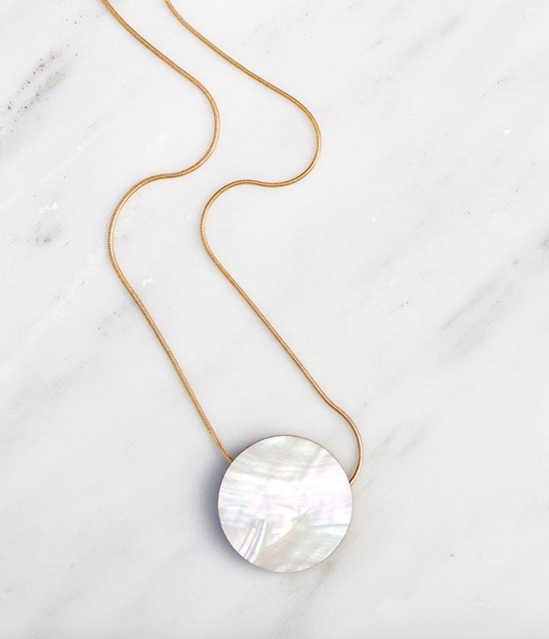 Eclipse Mother of Pearl Necklace from Wolf and Moon