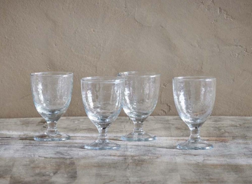 Yala Hammered Wine Glass - Clear Glass