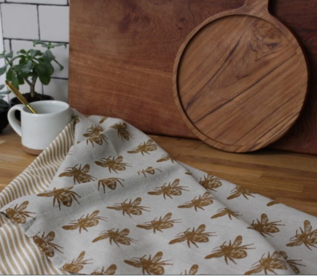 Raine and Humble Prussia Mustard recycled cotton Tea Towels - Bee Design